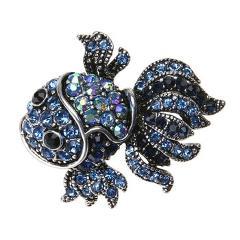Vintage Cute Blue Crystal Fish Brooches Pins Women Men Animal Shinny Goldfish Brooch Women Christmas Day Gifts брошка женская