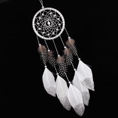 White Dream Catcher Wall Car Hanging Decoration Silver Feather Core Bead Wind Chimes Hanging Decorations Handmade Dreamcatcher