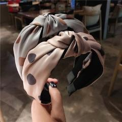 Fashion Women Bow Headband Cross Hair Hoop Knotted Wide-Brimmed Lady Retro Wave Simple Hair Band Adult Headbands