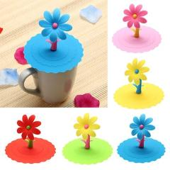 1pc Sunflower Cup Lid Dustproof Reusable Silicone Drinking Cup Lid DIY Insulation Anti-dust Cup Cover Home Drinkware Cups Lid
