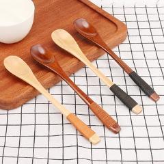 Long Handle Wooden Spoon Kids Feeding Spoon Wood Rice Soup Dessert Spoon Coffer Tea Mixing Kitchen Tools