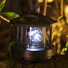 Black Solar Powered Lighthouse Shape Light Plastic LED Rotating Landscape Beam Lamp for Garden Yard Lawn Decoration