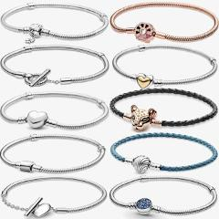 Charms 925 Sterling Solid Silver Bracelet Heart T-Bar Cuff Chain Sparkling Blue Disc Clasp Snake Chain Bracelet Women Jewelry