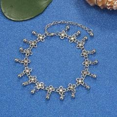 MINHIN Bohemia Alloy Chain Anklet Flower Design Summer Beach Ankles Foot Bracelet Antique Silver Color Retro Anklets Gift