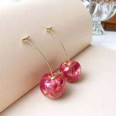 Resin Cherry Long Drop Earrings for Women Sweet Fruit Ear Dangle Charming Statement Pendant Jewelry Gifts серьги dropshipping