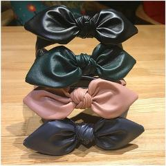 Haimeikang Synthetic Leather Bow Knot Headbands Hairband Bezel For Women Non-Slips Hair Band Solid Hair Accessories Head Wrap