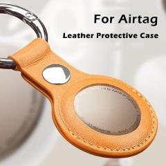 UTOPER Luxuriouy Leather Protective Case For Airtag Cover Hangable Keychain Locator Tracker Case For Apple airtags