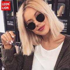 LeonLion 2021 Classic Small Frame Round Sunglasses Women/Men Brand Designer Alloy Mirror Sun Glasses Vintage Modis Oculos