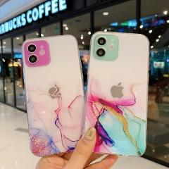Transparent Marbling Phone Case For IPhone X XS XR 11 12 Mini Pro Max SE 2020 6 6S 7 8 Plus Color Lens Circle Protection Cover