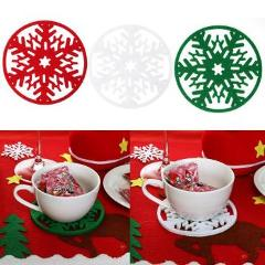 10Pcs Merry Christmas Snowflake Shape Cup Mat Dinner Table Coasters Dish Pad Natal Natal New Year Christmas Decorations for Home