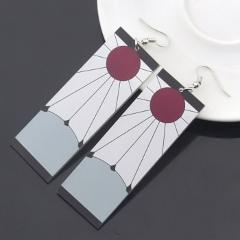 Acrylic Drop Earrings Demon Slayer Kimetsu no Yaiba Blade of Ghost Earings For Women Men Cosplay Jewelry Accessories Gift
