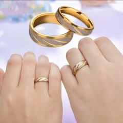 Titanium Steel Couple Rings Gold Wave Pattern Wedding Infinity Ring Men and Women Engagement Jewelry Gifts