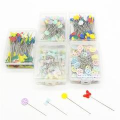 100Pcs Plastic Flat Head Pins Straight Quilting Pins Mixed Color DIY Sewing Needles