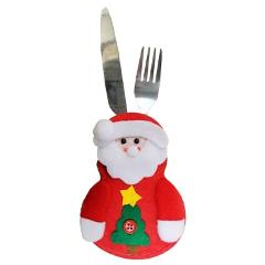 Cutlery Bag Tableware Pockets Forks Cover Snowman Santa Claus Elk Christmas Party Decoration for Children Dinnerware Sets TB