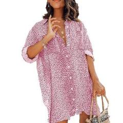Spring Half Sleeve Leopard Print Women's Shirts Single Breasted Lapel Casual Female Shirt New Fashion Streetwear Long Shirt
